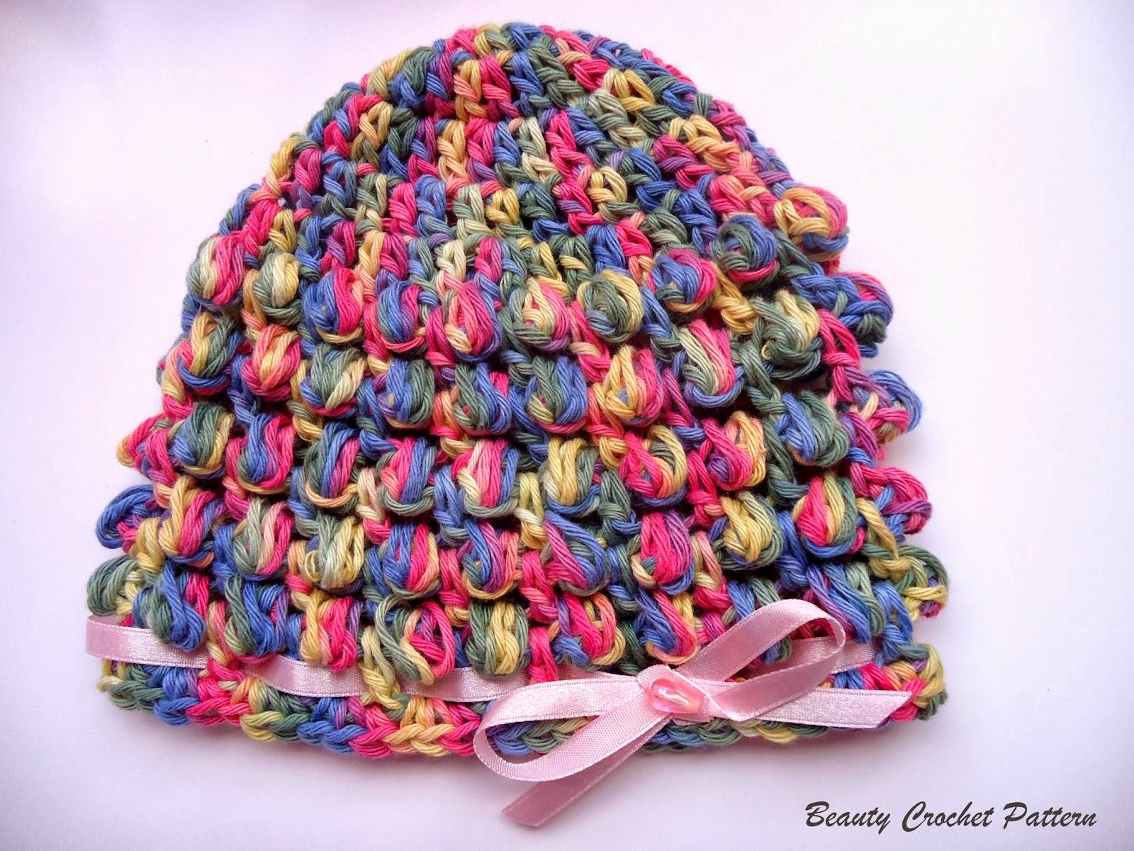Beauty Crochet Pattern: SPRING BABY BOBBLE CROCHET HAT ...