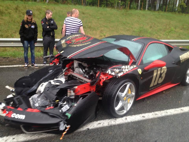 gumball 3000 crash ferrari 458 italia team 113