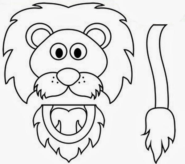 Lion Paper Bag Puppet Template