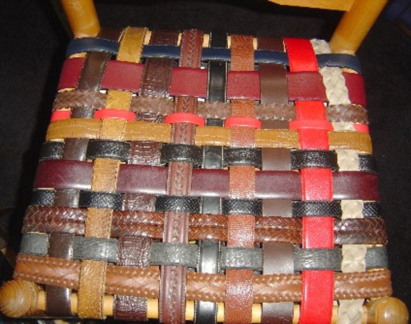 upcycled leather belts seating sallygoodin