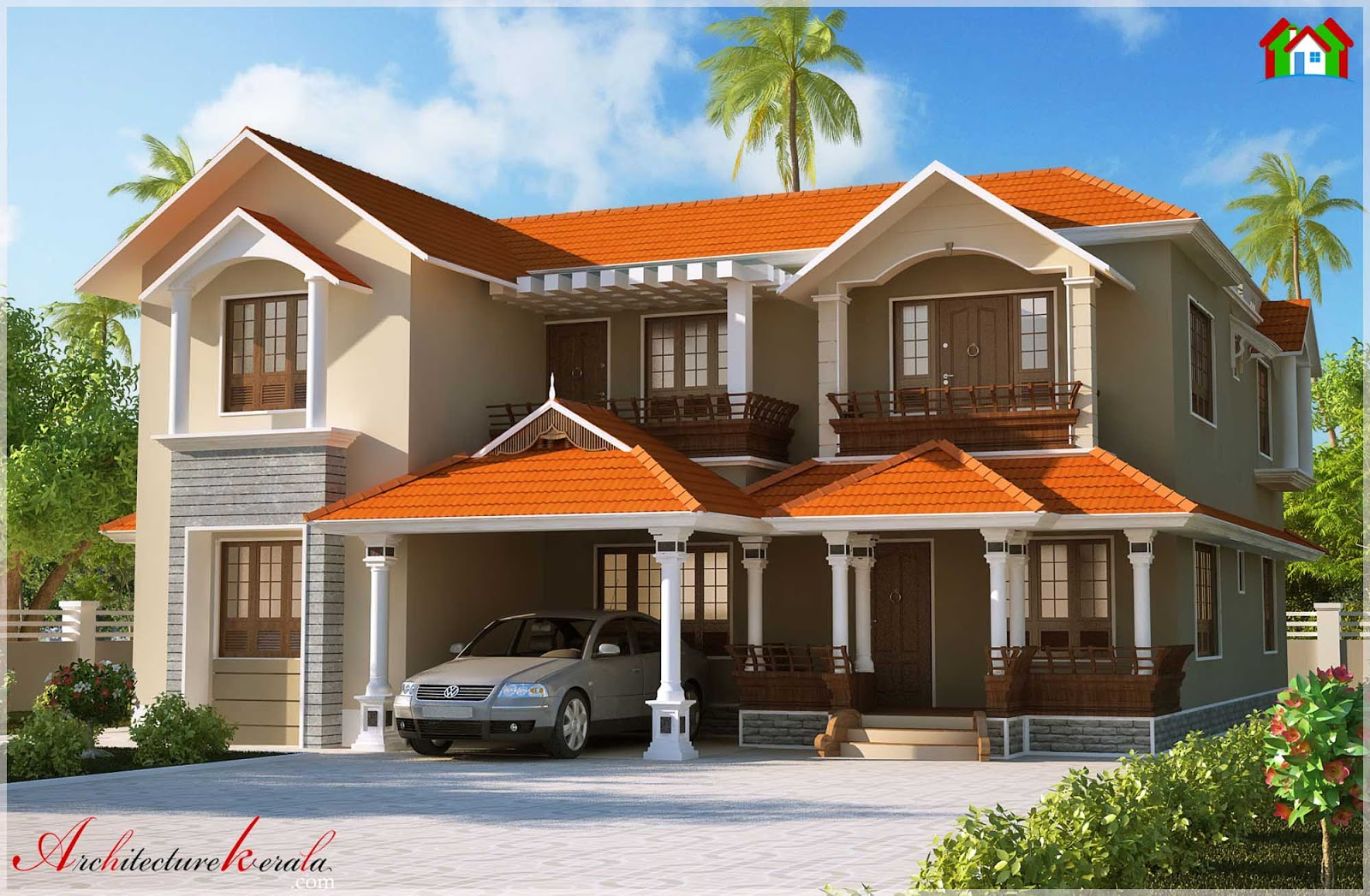 Kerala style dream home elevations 3000 sq ft for 3000 sq ft house plans kerala