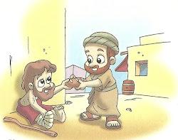 Jesus alimenta um mendigo