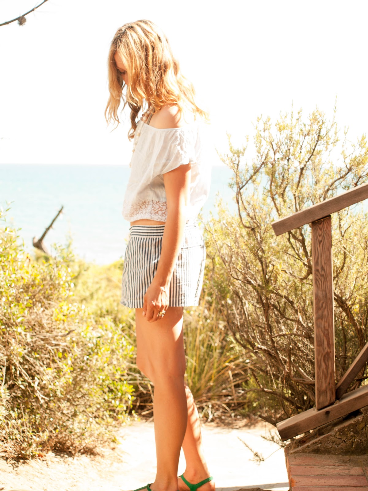 Midriff baring top, crop top, Striped shorts, Beach outfit, Anthropologie shorts