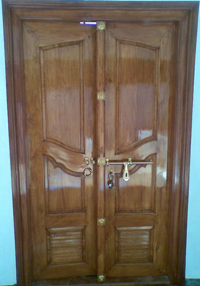 New kerala model wooden front door double door designs for Main entrance double door design