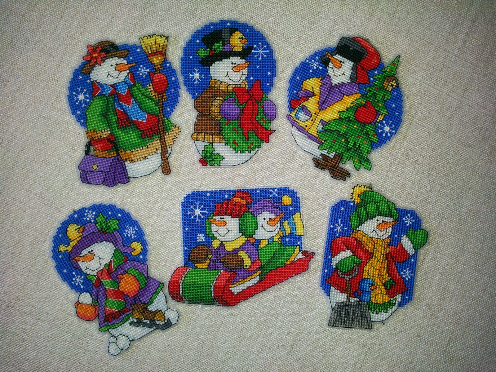 Christmas decorations stitched from 2003 to 2011
