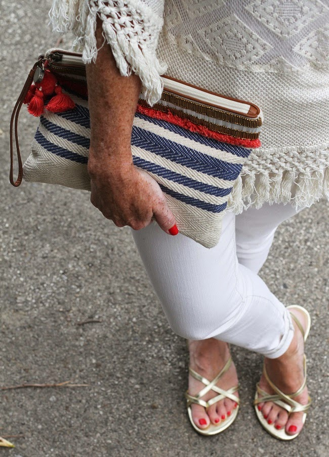 mango crochet poncho, loft stripe clutch, jcrew gold sandals