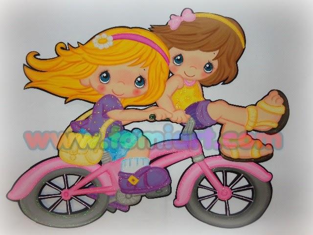 Precious moments en foamy niñas en bicicleta
