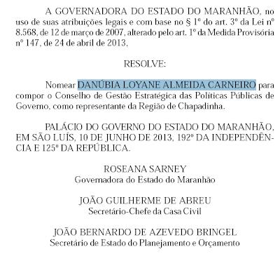 Roseana Sarney nomeia Danúbia Carneiro para o Conselho Estratégico do Governo