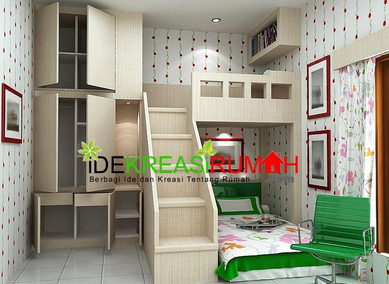 desain interior unik kamar tidur tingkat untuk anak ide