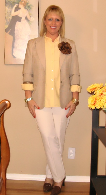 tan blazer with yellow