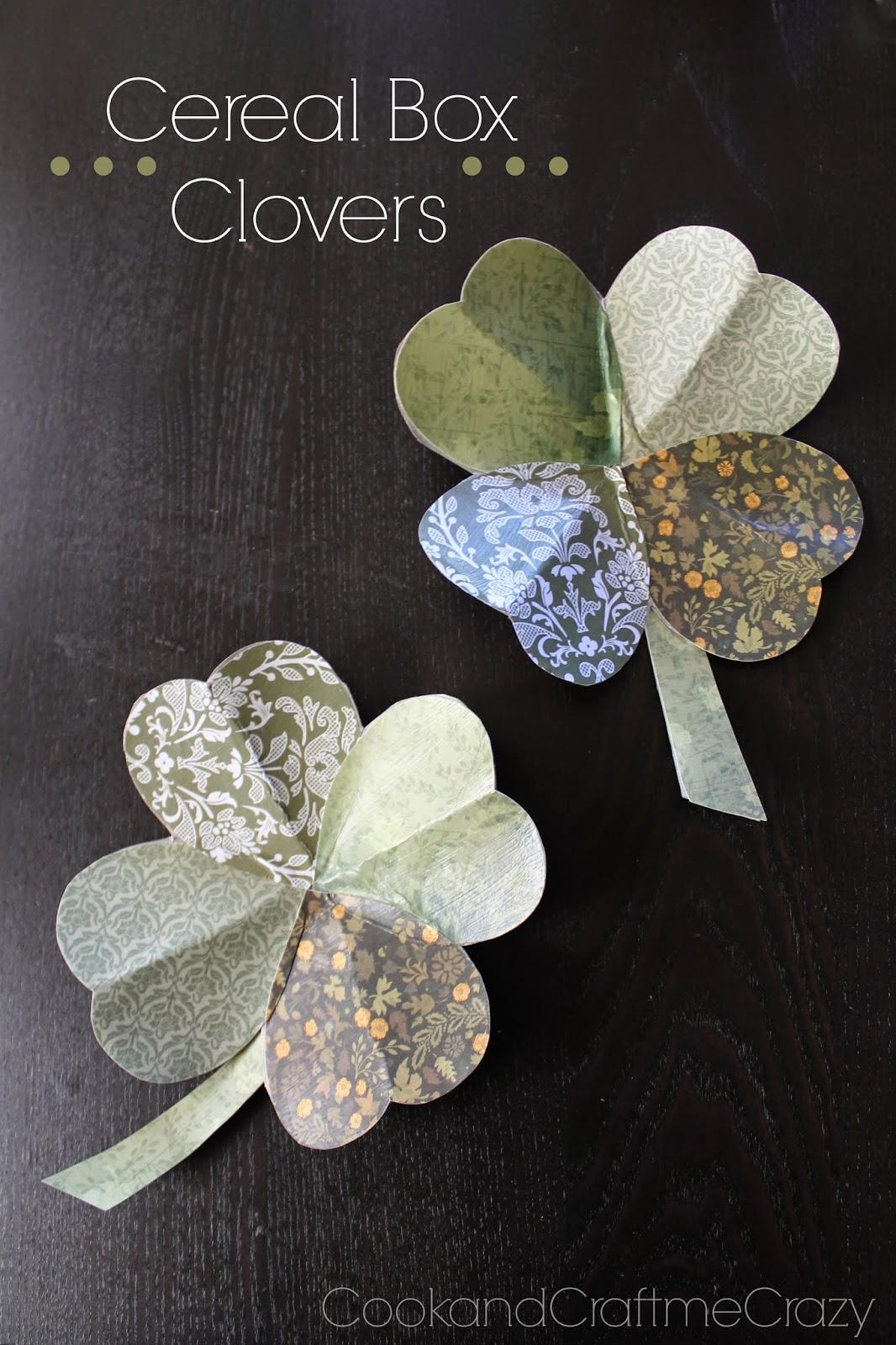 http://cookandcraftmecrazy.blogspot.com/2014/02/cereal-box-clovers.html