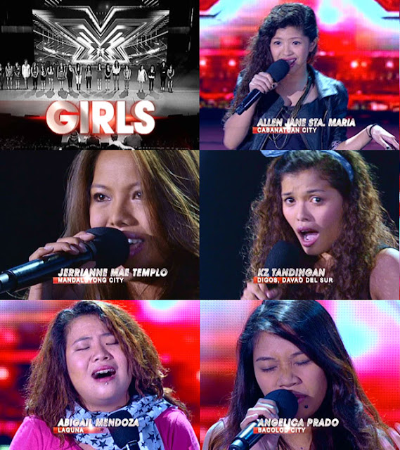 The X Factor Philippines Top 20 Girls - Allen Jane Sta. Maria, Jerrianne Mae Templo, KZ Tandingan, Abigail Mendoza, and Angelica Prado