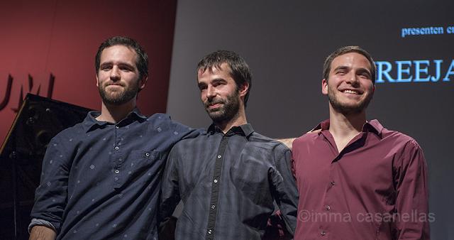 D'esquerra a dreta, Joan Solana, Pep Colls i Joan Carles Marí (Auditori Vinseum, Vilafranca, 21-11-2015)