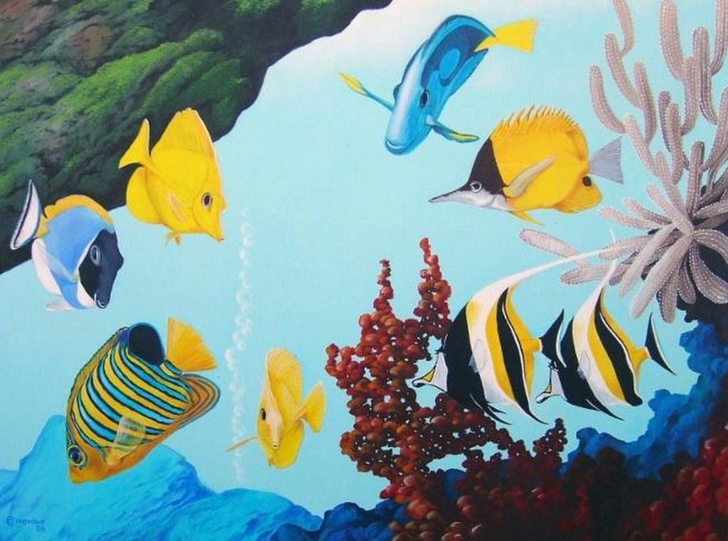 Cuadros modernos pinturas y dibujos paisaje submarino al for Pintura para estanques de peces