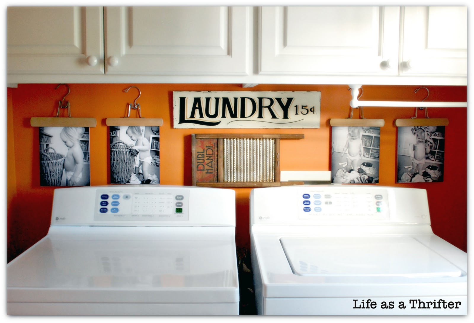 Life as a thrifter diy laundry room display for Decorate a laundry room