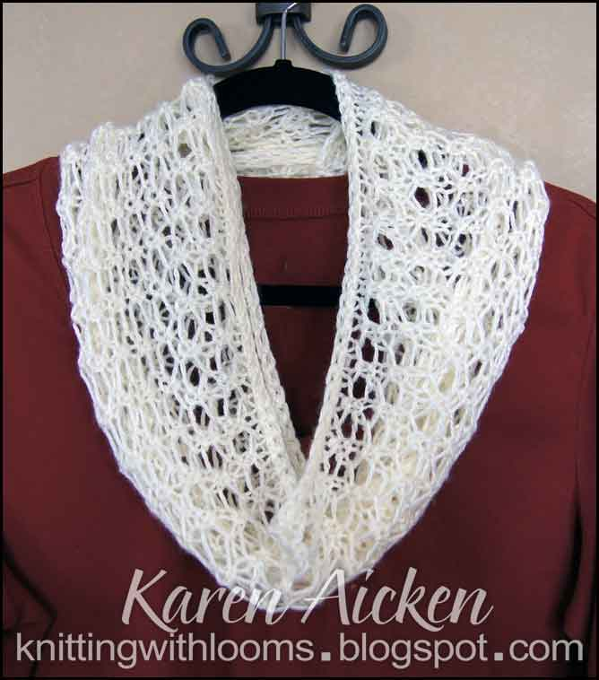 Knitting With Looms: Finished Lacy Infinity Scarf