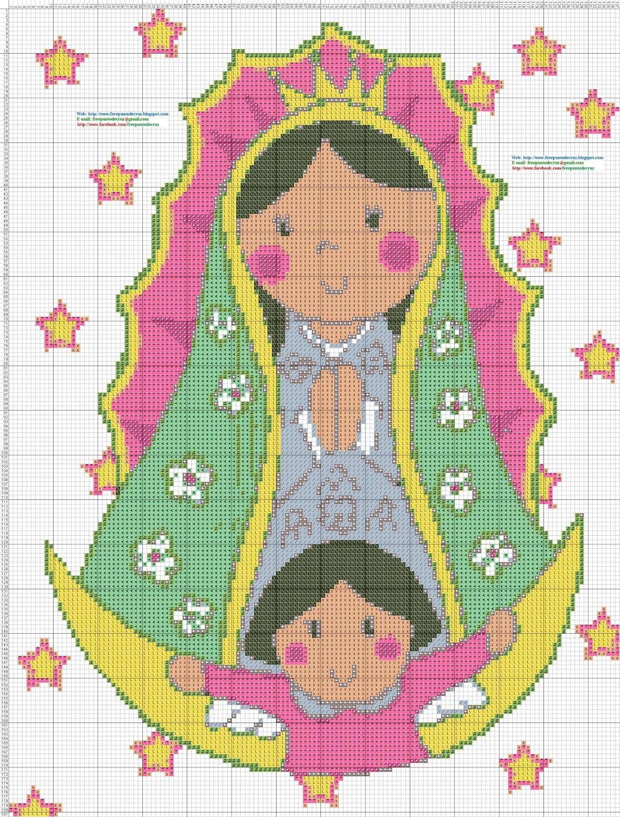 Virgen De Guadalupe Animada Punto Cruz Virgencita Plis En