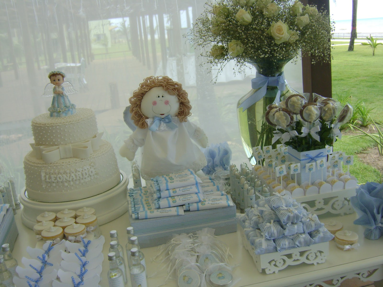 Baptism flower centerpiece ideas car interior design for Baby baptism decoration ideas