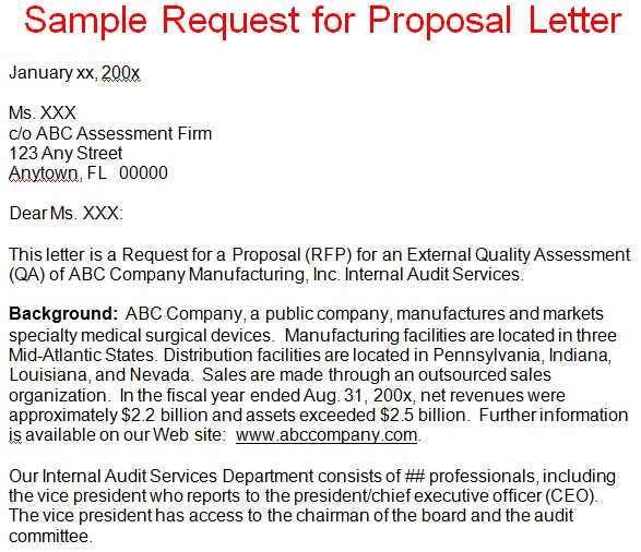 Business Proposal Letter Sample Request For Proposal Letter