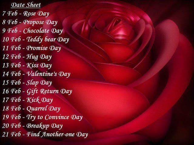Valentine Week List 2018 Day Dates Schedule Timetable Calendar ...