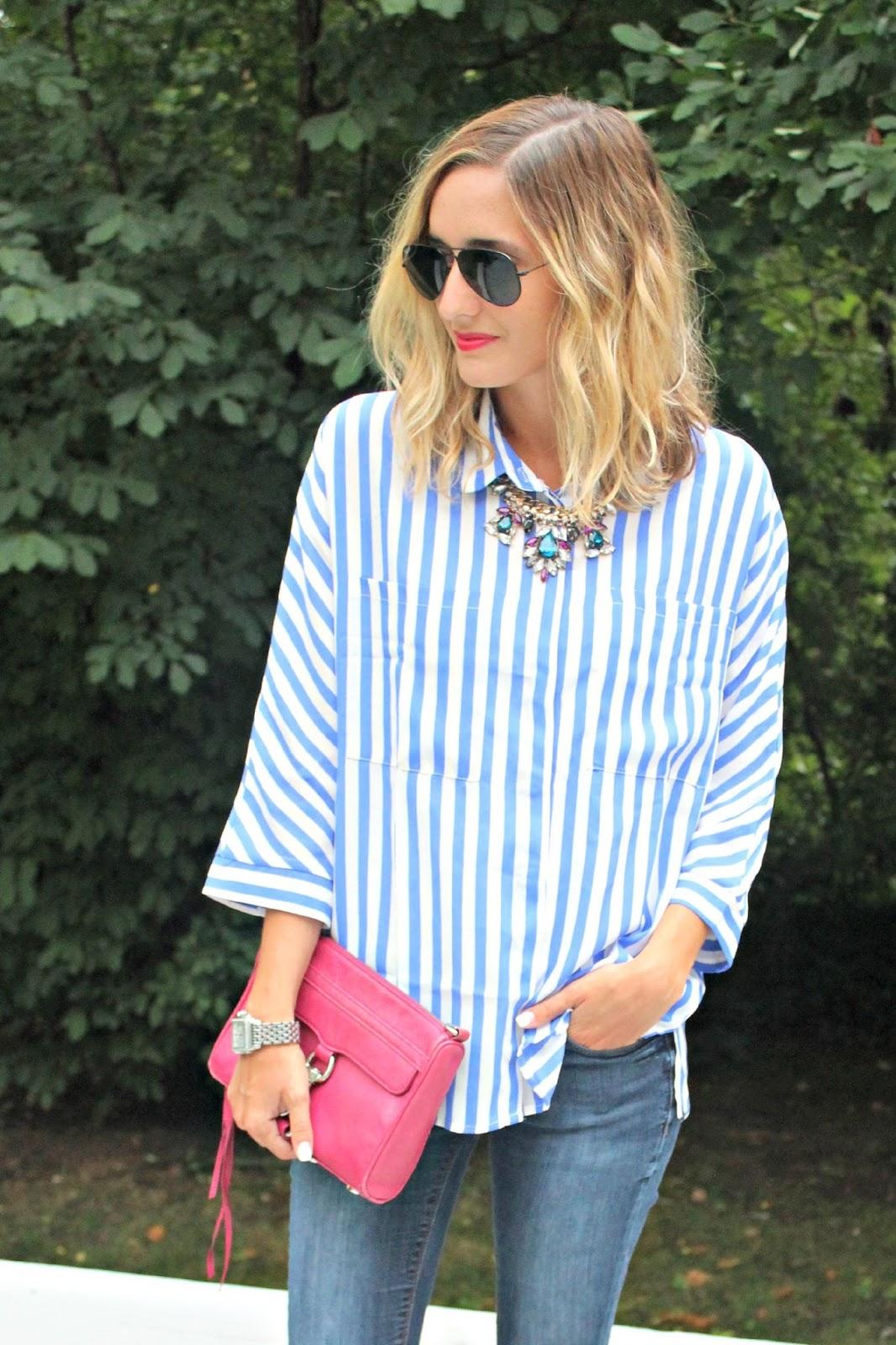 shein blue striped top