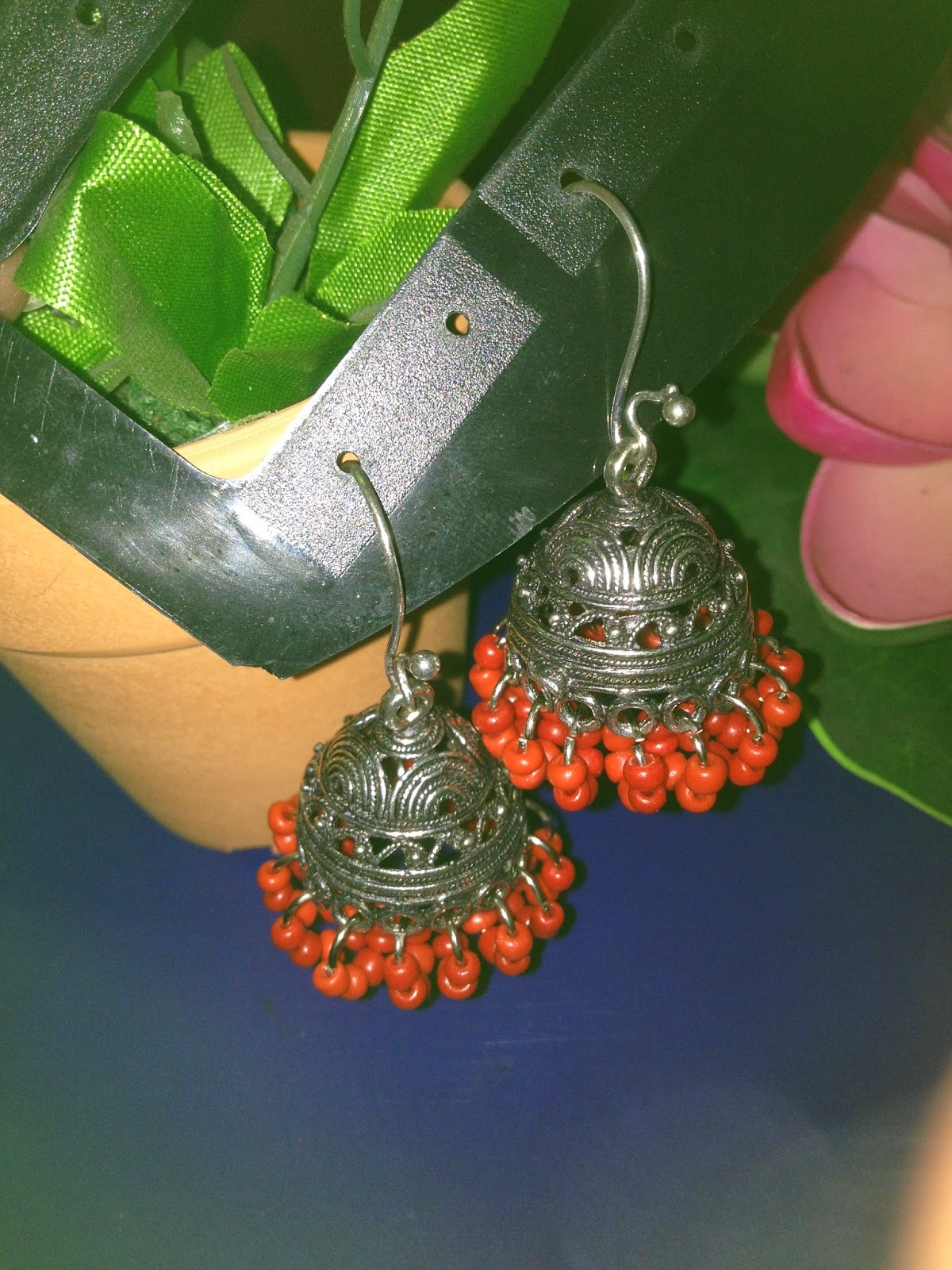 big jhumka with red seed beads