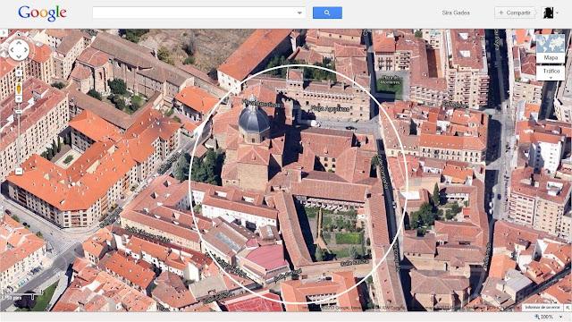 Amplios terrenos ocupados por el monasterio, con el palacio de Monterrey justo enfrente