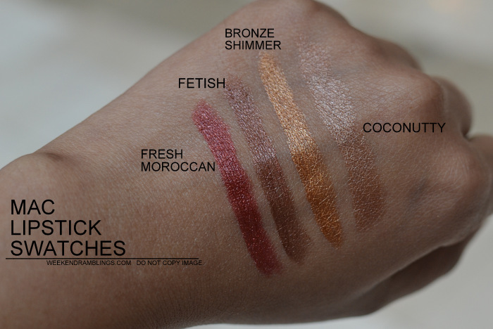 MAC Lipsticks Swatches Indian Darker Skin NC45 Makeup Beauty Blog Fresh Moroccan Fetish Bronze Shimmer Coconutty