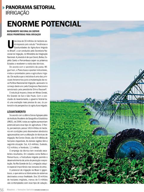 Irrigação: Enorme potencial