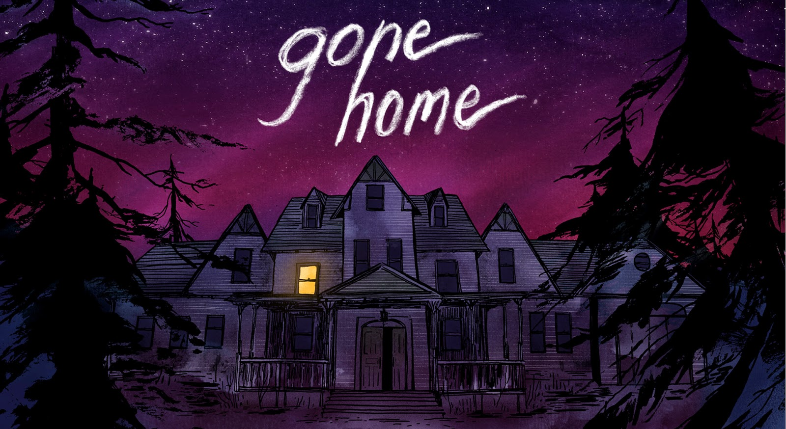 A painted picture of a house with a light on and the words Gone Home.