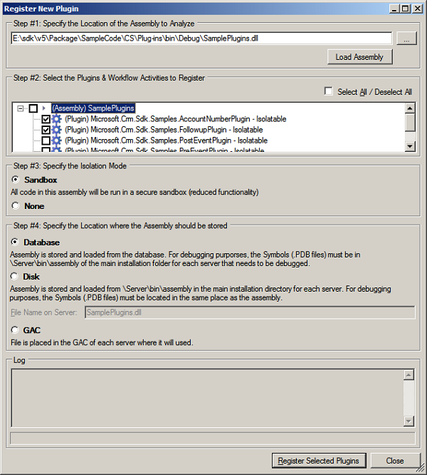 Register New Plug-in Dialog