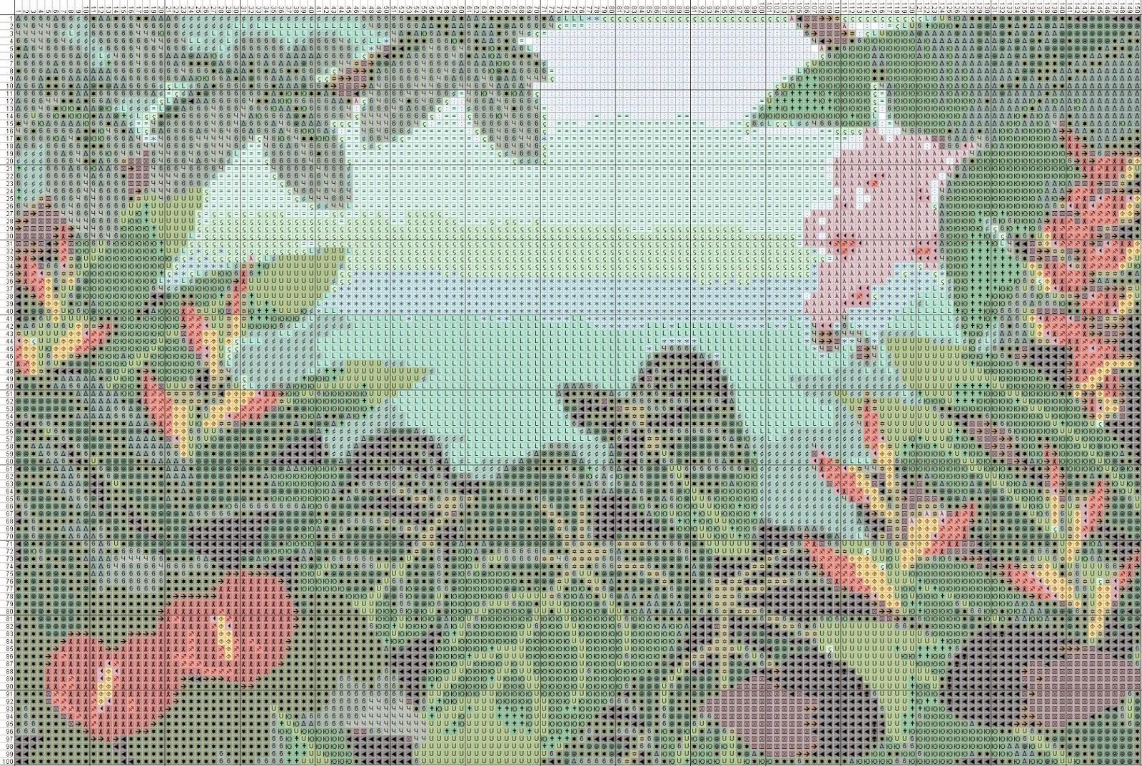 Gambar Pola Kristik Kebun Bunga