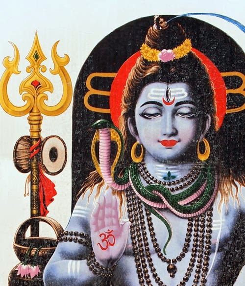Lord Shankar with Trident and Om symbol