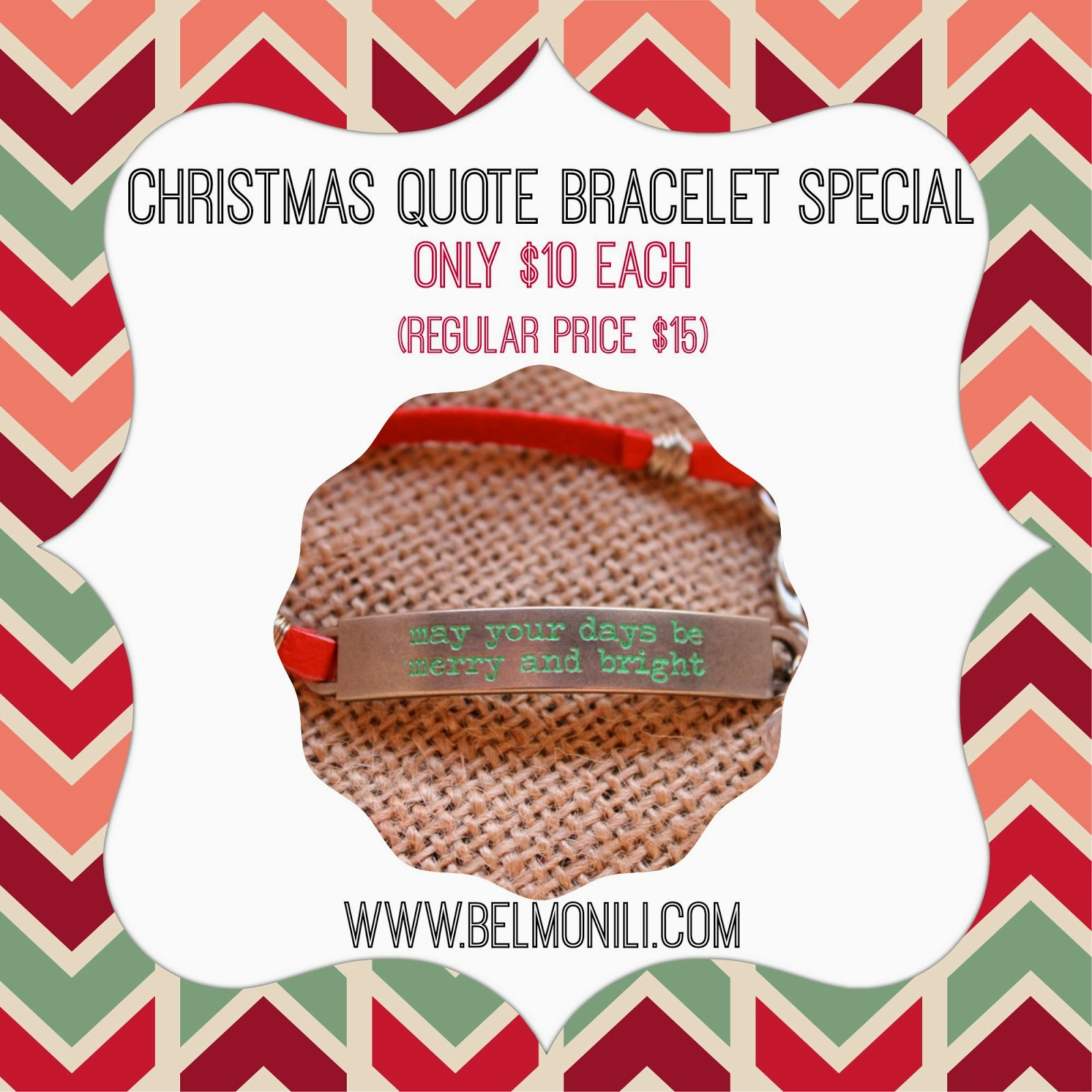 bel monili, christmas bracelet, christmas quote, christmas gift, gifts under $10, free shipping, pittsburgh gift, pittsburgh art, stamped quote, quote jewelry