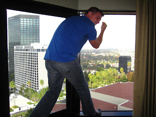 Chad trying to end it all at the Universal Hilton.