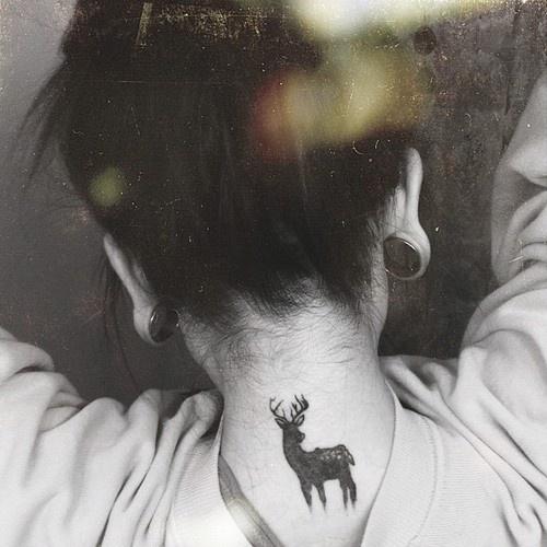 Cute deer behind the neck female tattoofemale tattoos gallery for Tattoos behind the neck