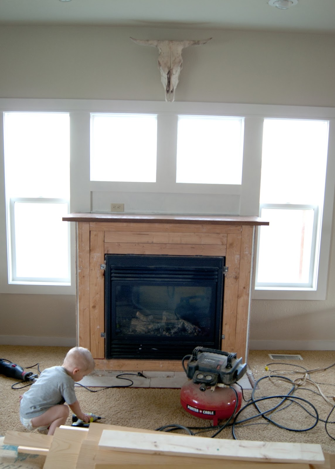 Mid demo - Fireplace Makeover - Reclaimed Wood Mantel
