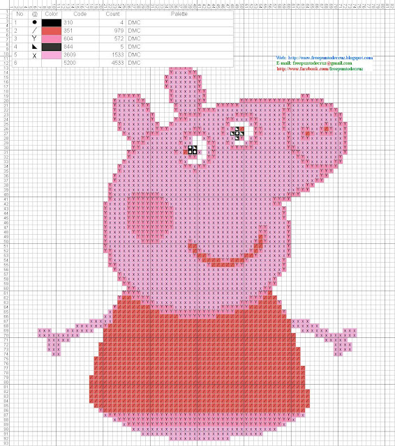 peppa pig schema punto croce
