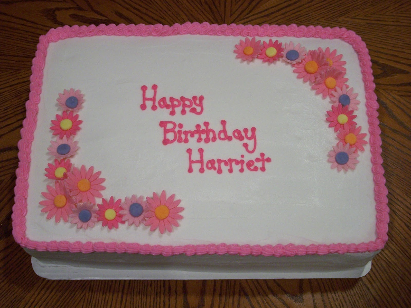 Heather Calvin Cakes Pink flowered birthday sheet cake
