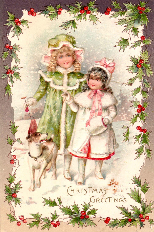 Старинные новогодние открытки винтаж с животными 14