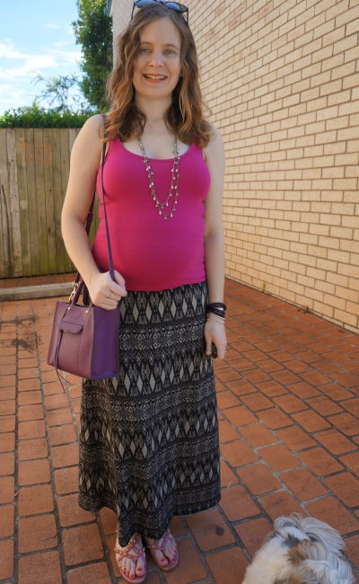 Away from Blue | Easy Spring Second trimester outfit stretchy tank printed maxi skirt