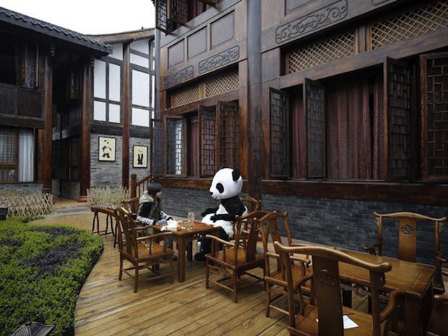 Staff dressed as Pandas at Hadodou Panda Hotel