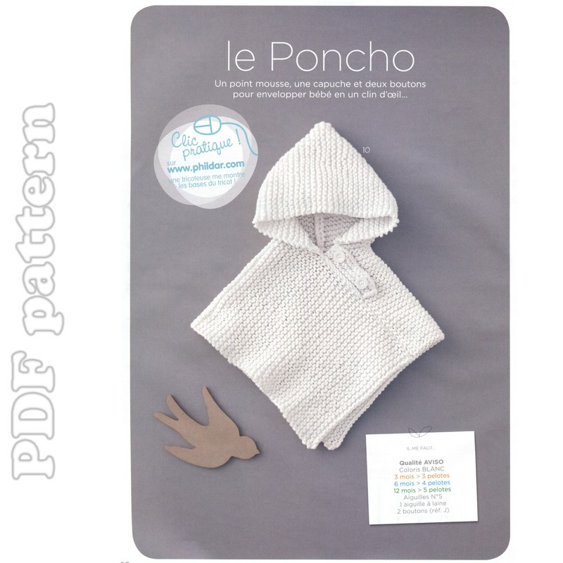 Super Quick and Easy Baby Hooded Poncho Pattern PDF | CraftyLine e ...