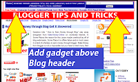 Add gadget above blog header