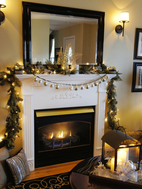 Cool  Classic Christmas fireplace decoration with candles bells stars