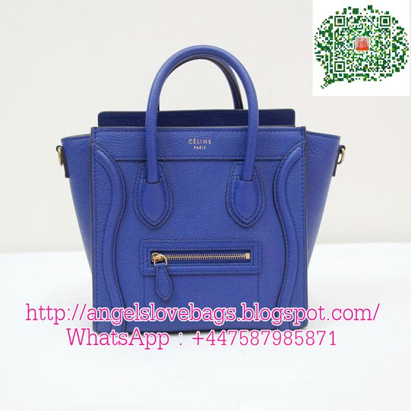 celine mini luggage nano blue crossbody new