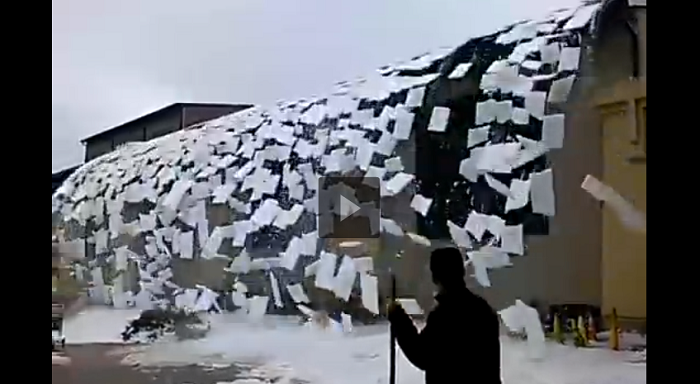 Ice On A Building Roof Collapses In The Most Epic Avalanche Possible. Must See!