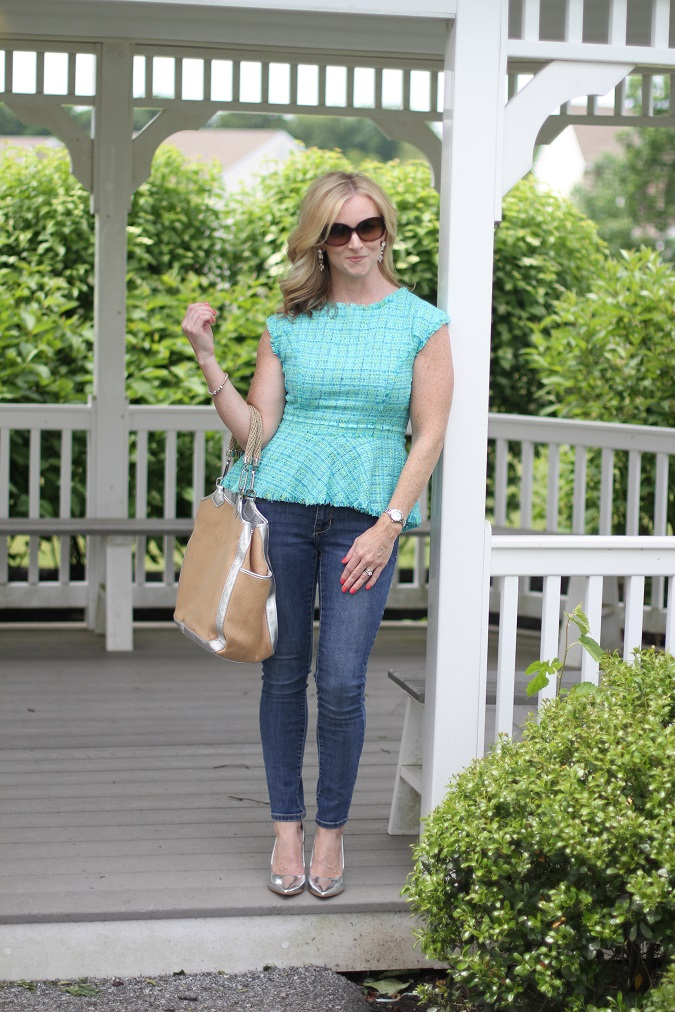 Vince Camuto, Jbrand, Tory Burch, Prada, J.Crew, tag heuer, LosPhoto, Simply Lulu Style, lulu looks, style tips, stuart weitzman, tweed peplum top, metallic heels, straw tote