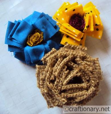 Ткань-цветы мешковиной-весна-крафт-идея