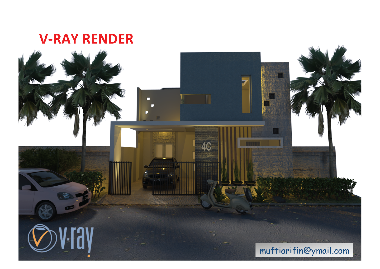 SKETCHUP TEXTURE: TUTORIAL V-RAY FOR SKETCHUP NIGHT SCENE #1